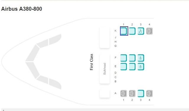エミレーツ航空のサイトでの空席状況
