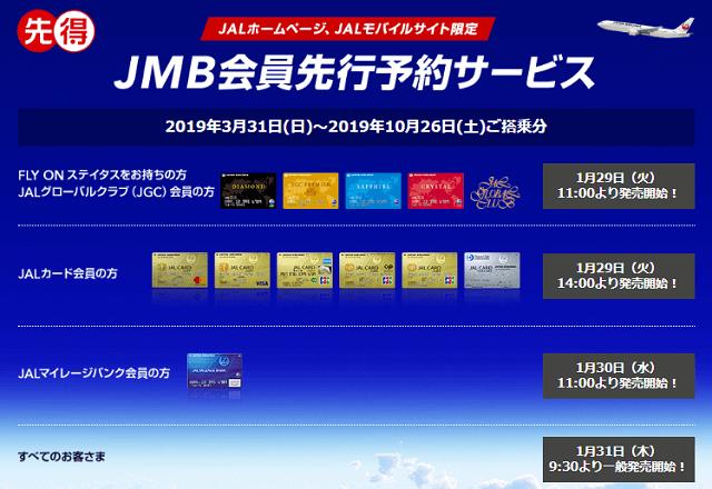 2019年JMB会員先得運賃先行予約サービススケジュール
